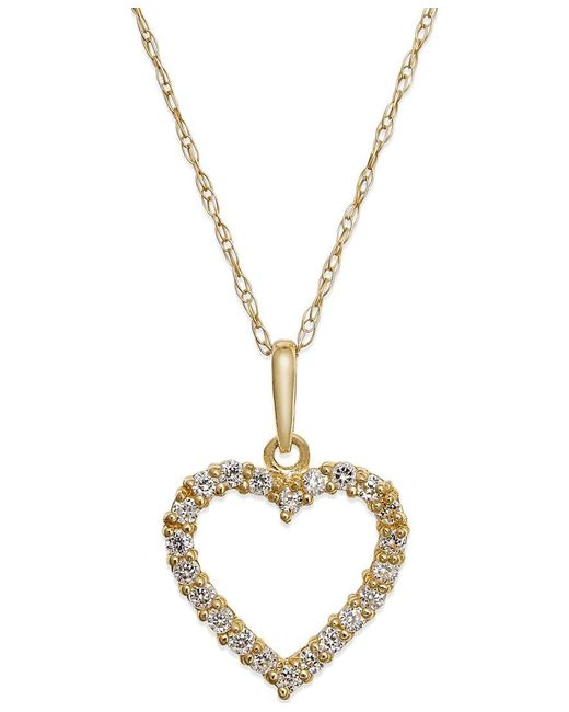Macy's | Yellow Cubic Zirconia Heart Pendant Necklace In 10k Gold | Lyst