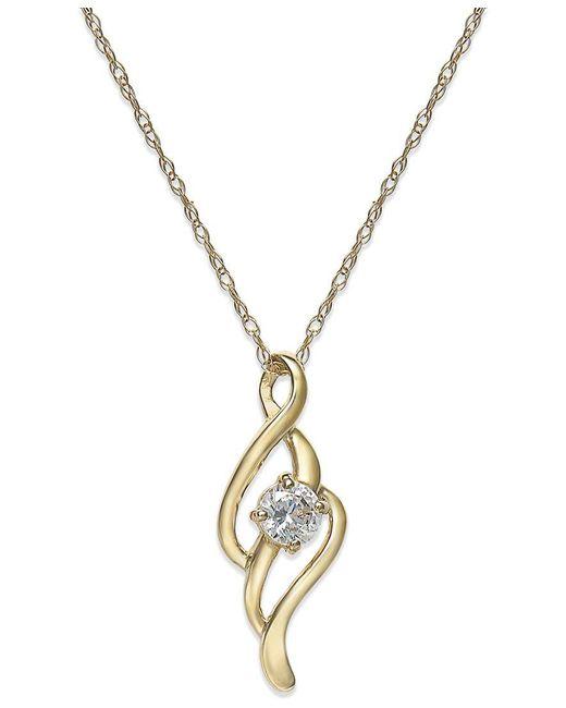 Macy's | Metallic Cubic Zirconia Swirl Pendant Necklace In 10k Gold | Lyst