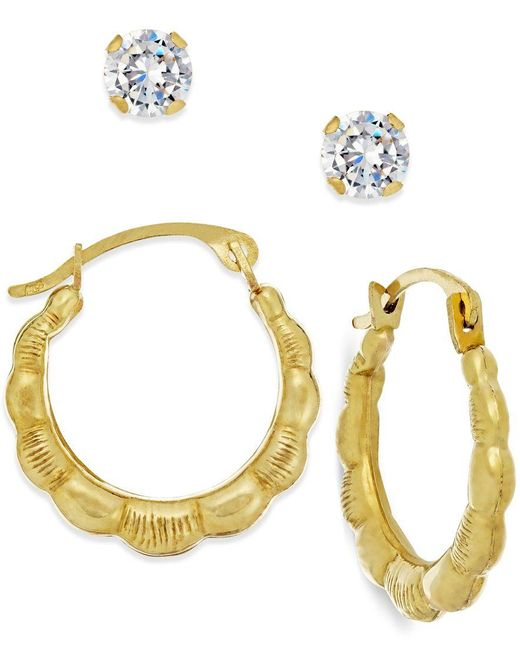Macy's | Metallic Cubic Zirconia And Ribbed Hoop Earring Set In 10k Gold | Lyst