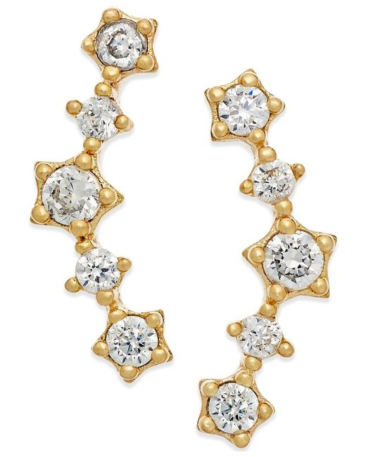 Macy's | Metallic Cubic Zirconia Ear Crawlers In 10k Gold | Lyst