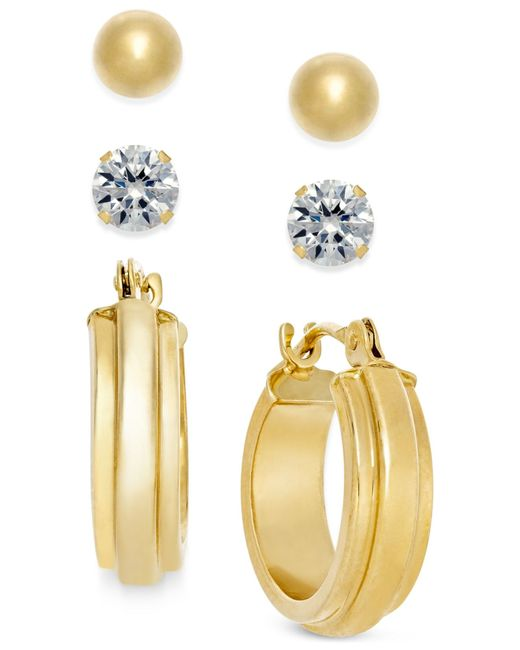 Macy's | Metallic Stud And Hoop Earring Set In 10k Gold | Lyst