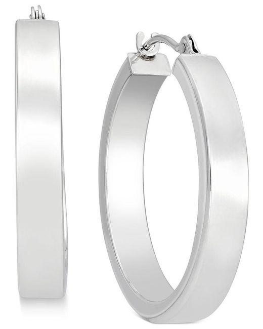 Macy's | Metallic Bold Hoop Earrings In 10k White Gold | Lyst