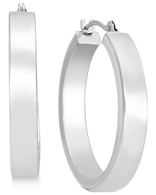 Macy's | Metallic Bold Hoop Earrings In 10k White Gold | Lyst