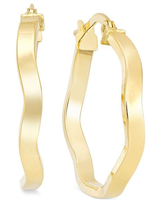Macy's | Metallic Wave Hoop Earrings In 10k Gold | Lyst