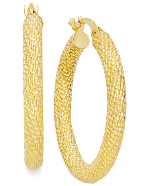 Macy's | Metallic Textured Hoop Earrings In 10k Gold | Lyst