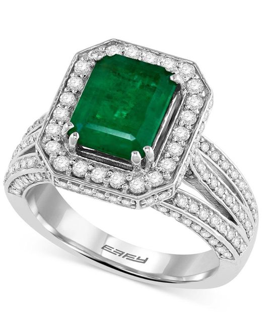Effy Collection | Green Emerald (2-1/5 Ct. T.w.) And Diamond (1-1/10 Ct. T.w.) Ring In 14k White Gold | Lyst