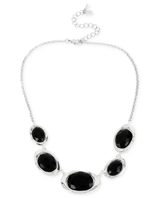 Robert Lee Morris | Silver-tone Black Faceted Bead & Hammered Sculptural Link Frontal Necklace | Lyst