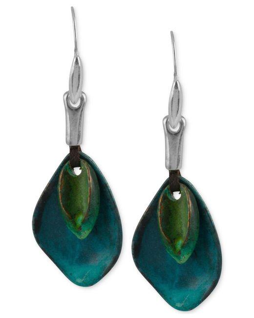 Robert Lee Morris   Blue Silver-tone Layered Sculptural Patina Drop Earrings   Lyst
