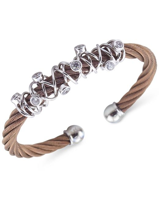 Charriol | Metallic Women's Tango Bronze Pvd Stainless Steel With White Topaz Stones Cable Bangle Bracelet 04-25-1184-6l | Lyst