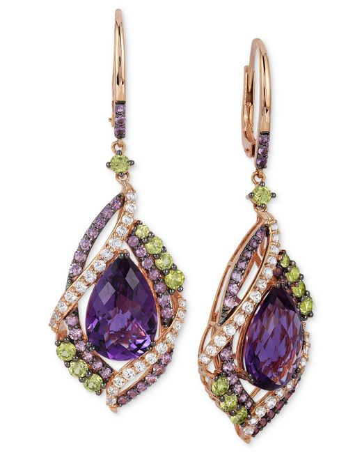 Le Vian | Multicolor Multi-stone Drop Earrings In 14k Rose Gold (12-3/4 Ct. T.w.) | Lyst