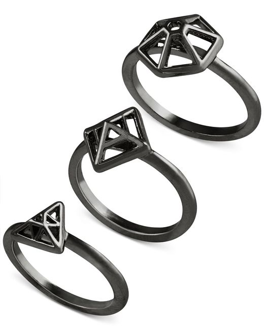 French Connection | Black Gold-tone Mini-geometric Set Of 3 Rings | Lyst