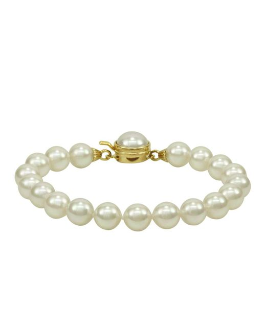 Majorica - White Pearl Bracelet, 18k Gold Over Sterling Silver Organic Man Made Pearl - Lyst