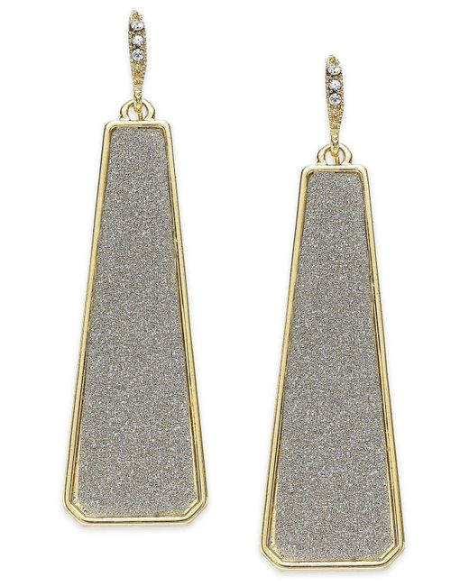 ABS By Allen Schwartz - Metallic Gold-tone Gray Texture Linear Drop Earrings - Lyst