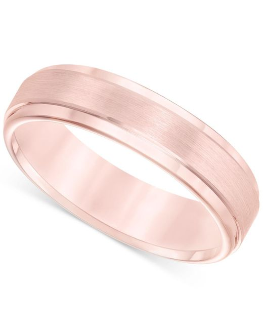 Macy's - Pink Satin Comfort-fit Band In Tungsten Carbide (6mm) - Lyst