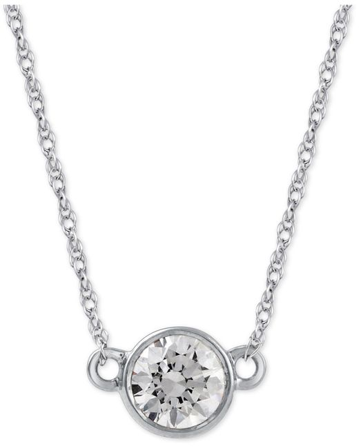 Macy's - Metallic Diamond Solitaire Pendant Necklace (1/3 Ct. T.w.) In 14k White Gold - Lyst