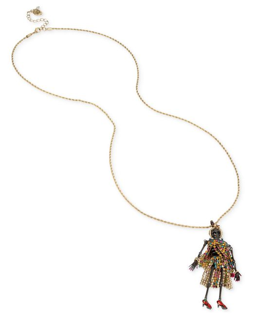 Betsey Johnson | Metallic Two-tone Multicolor Pavé Skeleton Pendant Necklace | Lyst