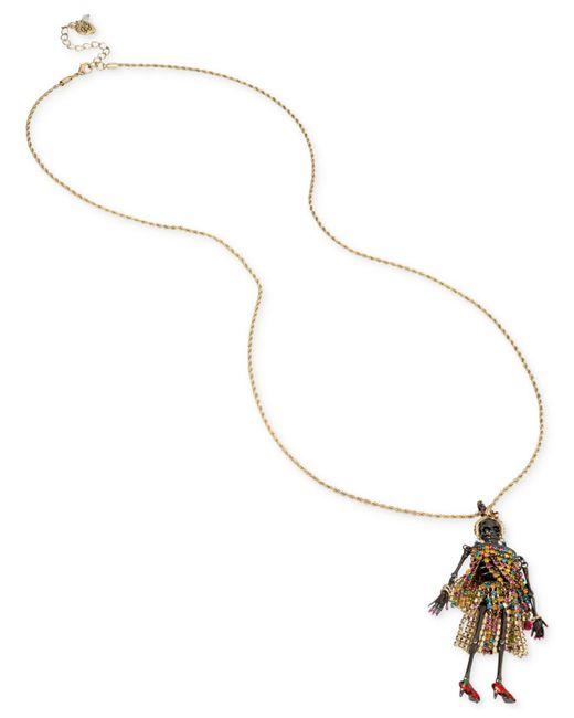 Betsey Johnson | Metallic Two-tone Multicolor Pavé Skeleton Pendant Necklace | Lyst
