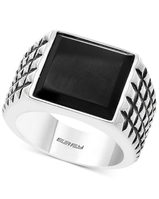 Effy Collection - Metallic Onyx Textured Ring (14mm X 13.8mm) In Sterling Silver - Lyst