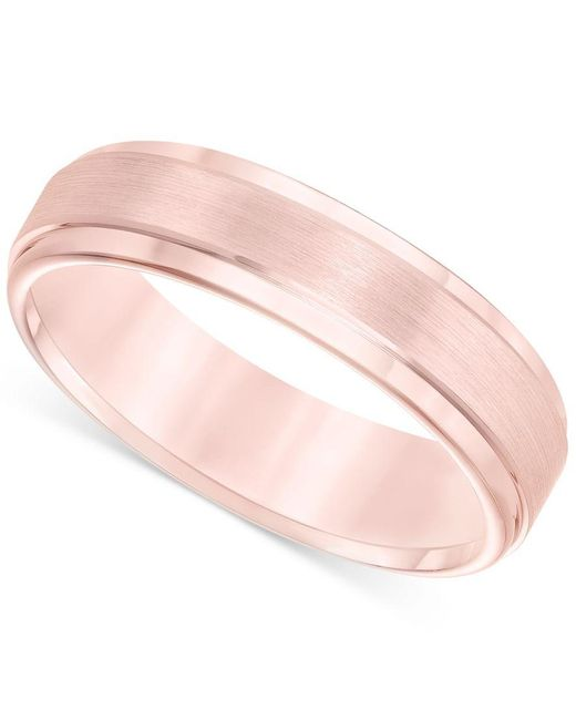 Macy's | Pink Satin Comfort-fit Band In Rose Tungsten Carbide (6mm) for Men | Lyst