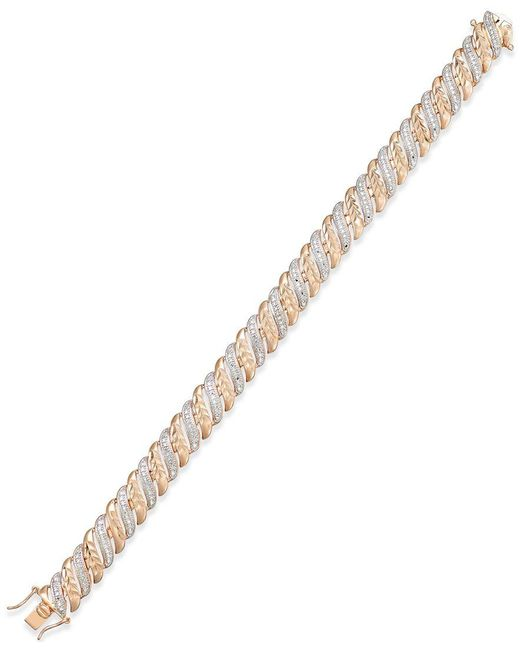 Macy's | Metallic Diamond Accent Glitz Bracelet In 18k Rose Gold-plated Sterling Silver And Rhodium | Lyst