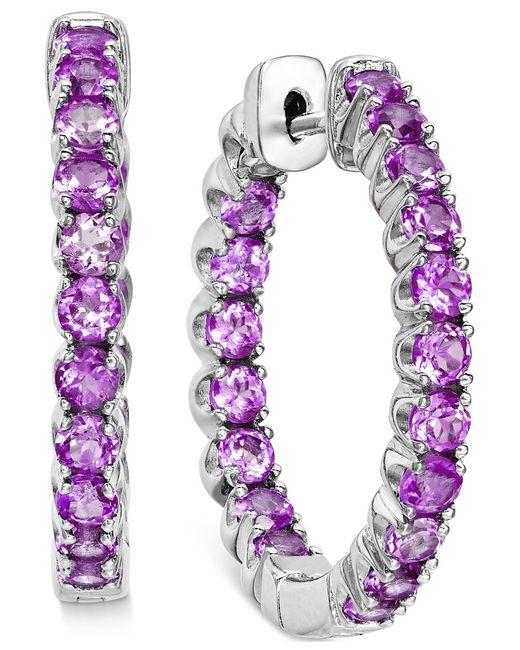 Macy's | Purple Amethyst Inside-out Hoop Earrings (4 Ct. T.w.) In Sterling Silver | Lyst