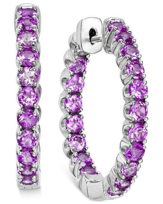 Macy's | White Amethyst Inside-out Hoop Earrings (4 Ct. T.w.) In Sterling Silver | Lyst