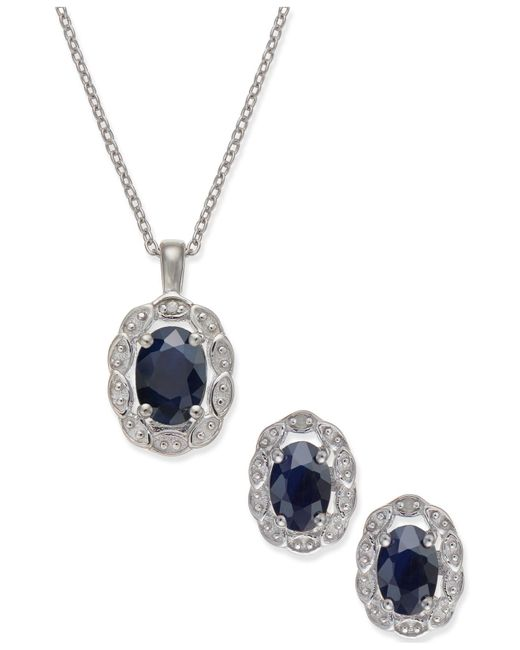 Macy's | Blue Sapphire (2 Ct. T.w.) And Diamond Accent Jewelry Set In Sterling Silver | Lyst