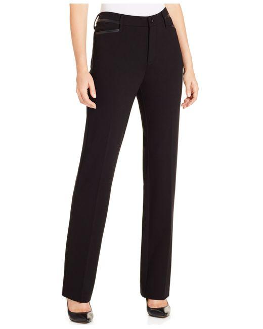 NYDJ | Black Marilyn Straight-leg Ponte Pants | Lyst