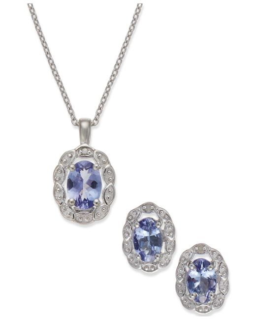 Macy's | Multicolor Tanzanite (1-1/2 Ct. T.w.) And Diamond Accent Jewelry Set In Sterling Silver | Lyst