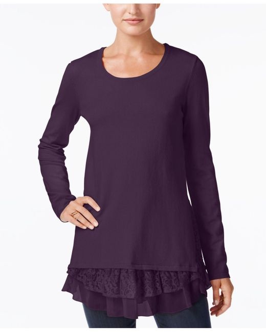 Style & Co. | Purple Mixed-media Tunic Sweater | Lyst