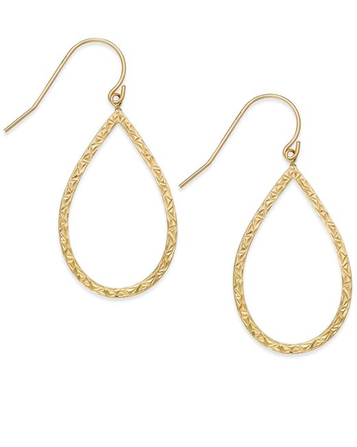 Macy's   Metallic Hammered Teardrop Hoop Earrings In 10k Gold   Lyst
