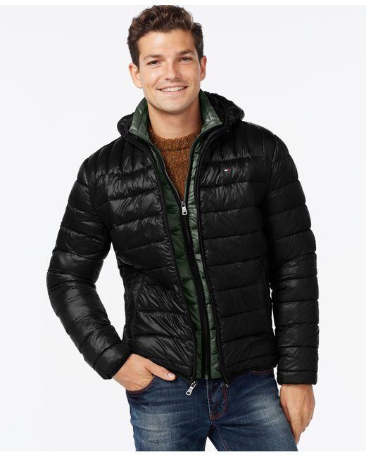 Tommy Hilfiger   Black Hooded Packable Jacket for Men   Lyst