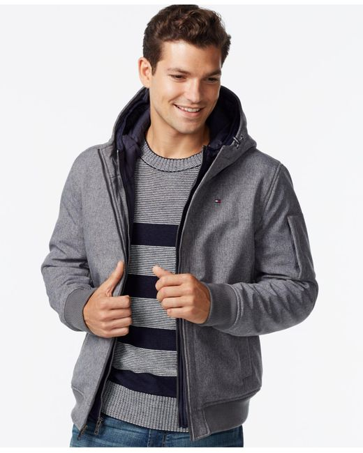 Tommy Hilfiger | Gray Soft-shell Bomber Hoodie Jacket for Men | Lyst