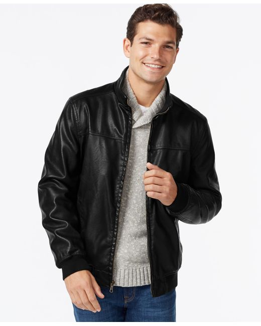 Tommy Hilfiger | Black Faux-leather Bomber Jacket for Men | Lyst