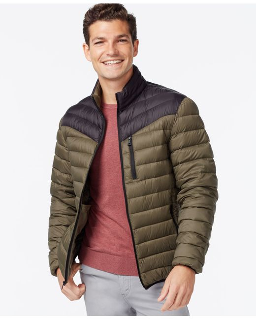 INC International Concepts   Green Color-blocked Down Packable Jacket for Men   Lyst