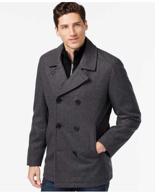 INC International Concepts   Gray Double-breasted Peacoat for Men   Lyst