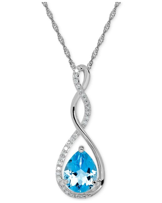 Macy's | Blue Birthstone And Diamond (1/10 Ct. T.w.) Pendant Necklace In 14k White Or Yellow Gold | Lyst