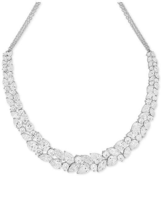 Arabella | Metallic Swarovski Zirconia Crystal Cluster Collar Necklace | Lyst