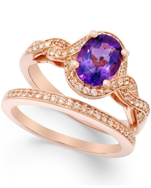 Macy's | Pink Amethyst (1 Ct. T.w.) And White Topaz Accent Ring Set In 14k Rose Gold Vermeil | Lyst