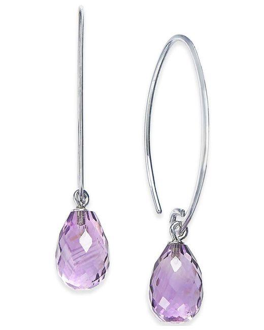 Macy's | Metallic Amethyst Drop Hoop Earrings (6-3/5 Ct. T.w.) In Sterling Silver | Lyst