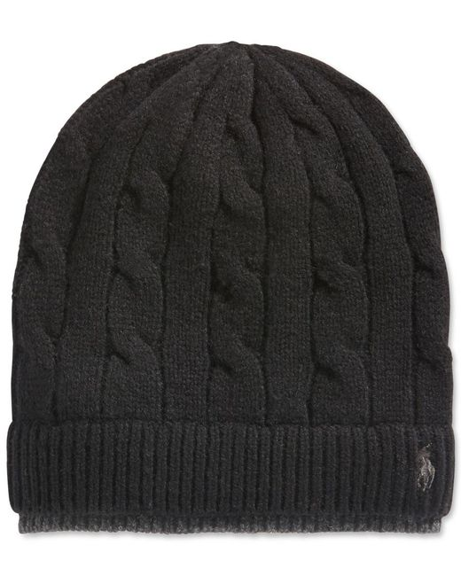 Polo Ralph Lauren | Black Two-tone Cable Beanie for Men | Lyst