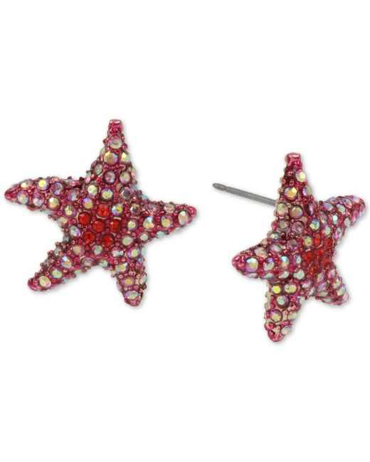 Betsey Johnson - Multicolor Pavé Starfish Stud Earrings - Lyst