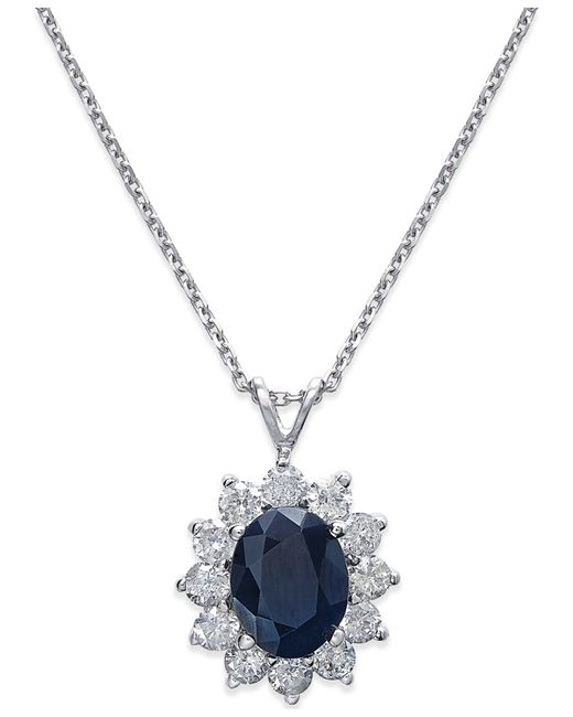 Macy's | Metallic Sapphire (2-1/5 Ct. T.w.) And Diamond (1 Ct. T.w.) Necklace In 14k White Gold | Lyst