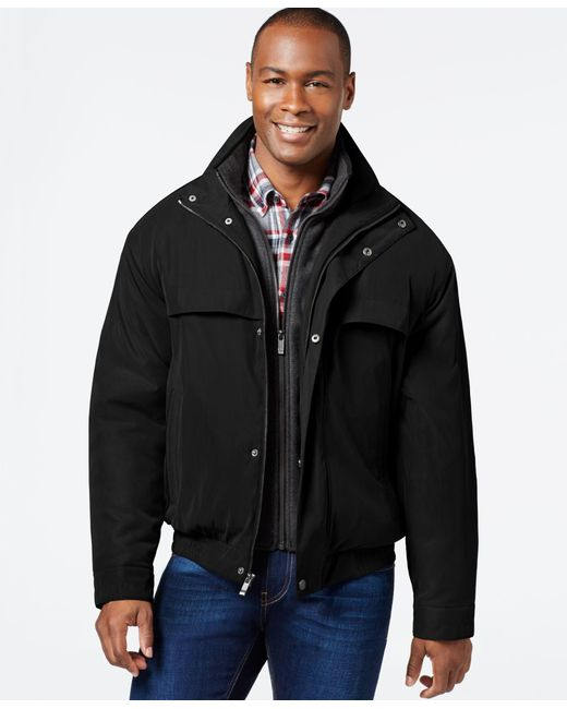 Weatherproof   Black Bomber Jacket With Attached Bib for Men   Lyst
