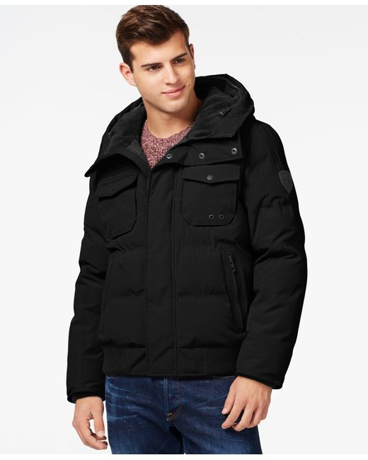 Guess | Black Hooded Snorkel Jacket for Men | Lyst