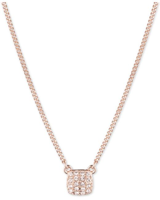 Givenchy | Pink Rose Gold-tone Crystal Pave Square Pendant Necklace | Lyst