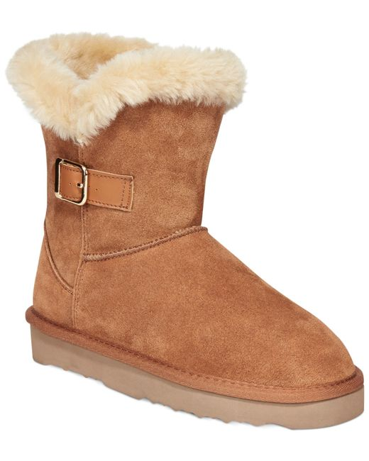 Style & Co. | Brown Tiny Low Shaft Faux-fur Cold Weather Booties | Lyst