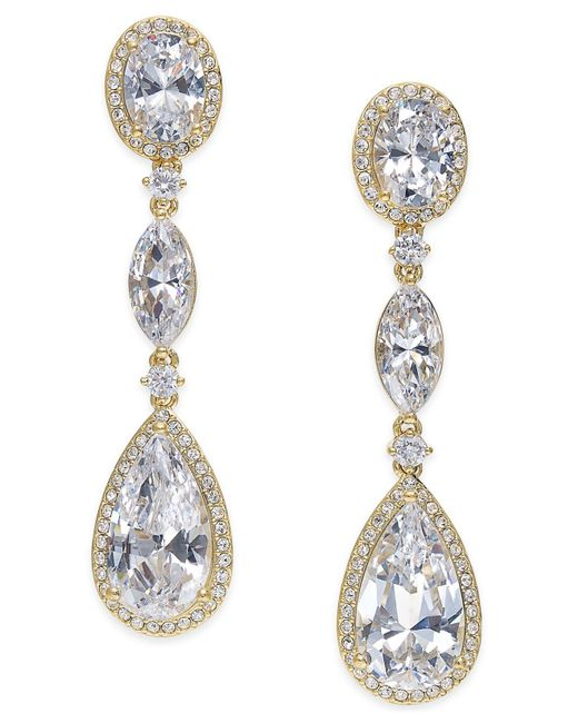 Danori - Metallic Gold-tone Cubic Zirconia Triple Drop Earrings - Lyst