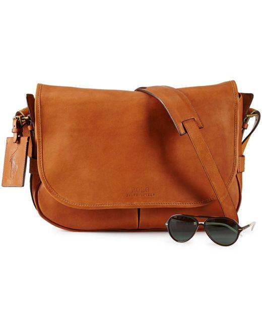 Polo Ralph Lauren   Brown Leather Messenger Bag for Men   Lyst