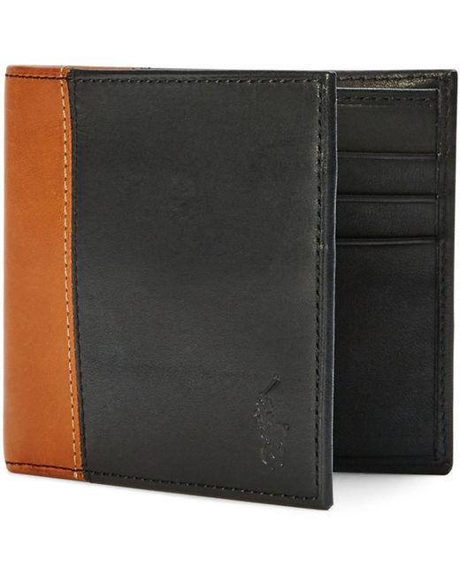 Polo Ralph Lauren   Black Two-toned Leather Billfold for Men   Lyst